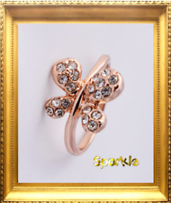 Elegant Girls ROSE Gold Filled Crystal Butterfly Ring  Signet APPROX 7-9 years
