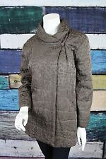 Eileen Fisher Gray Floral 100% Silk Single Button Closure Winter Puffer Coat XL