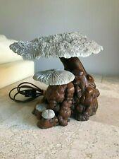 Vintage Coral Mushroom Lamp - Cypress Wood - Real Coral!
