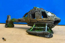 Aquarium Ornament Helicopter Crash Wreck Fish Tank New