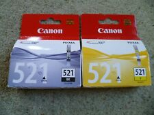 CANON Pixma 521 Ink Cartridge genuine unopened, CLI-521BK & CLI-521Y