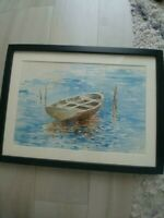"Soren Emil Carlsen  American 1894 ""Dory"" Framed Signed Watercolor Boat Seascape"