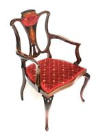Edwardian Chippendale Inlaid Mahogany Armchair  [ 6498 A ]