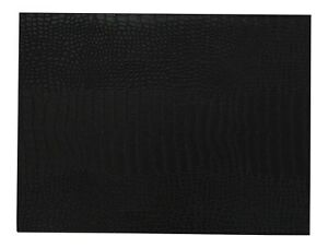 Set of 4 Large Black Faux Letaher Placemats Double Sided Croc & Smooth 40x30cm