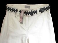 New Womens Marks & Spencer Per Una White Wide Leg Trousers Size 8 Short RP£39.50