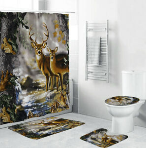 Deer Shower Curtain Set Bathroom Rug Thick Bath Mat Non-Slip Toilet Lid Cover