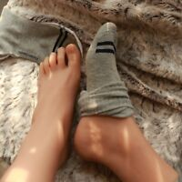 Silicone Male Feet Shoes Socks Displays Model Dark Skin Tone Fit 6.5-7 US Size