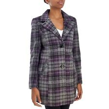 Madden Girl Purple Plaid Junior's Faux Wool Coat Sz S NWT