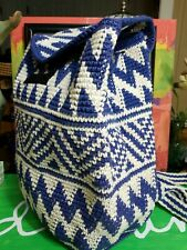 Cotton Knitted Woman Blue/white Backpack 11x13""