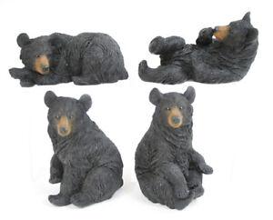 """Set of 4 BLACK BEAR Figurines, 5"""" Tall, by Slifka"""