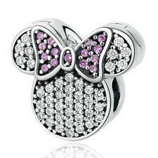 Minnie Mouse Clip REAL 925 Sterling Silver Charm Bead Spacer Gift Bracelet