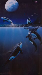Orca Killer Whales Over The Moon Print Signed