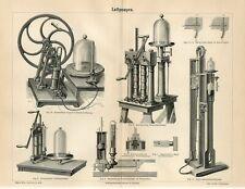 1887 OLD AIR PUMPS Antique Engraving Print