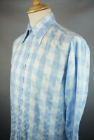 """Mens Ted Baker Blue white Check Size 15.5""""  L/S Collared shirt Single cuff UK M"""
