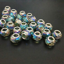 10pcs Half Plated Faceted Abacus Glass Large Hole Beads fit European Bracelet