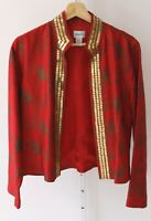 CHICOS Womens Silk Open Front Sequin Jacket Collarless Red Gold Print Lined 1 M