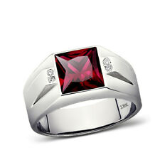 Solid 18K White Gold Red Ruby Jewelry 0.08ct Natural Diamond Ring for Men All Sz