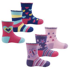 3 Pairs Baby Girls Heart & Butterfly Socks Pack Of 3 Socks 0-0 0-2.5 3.5-5 4B609