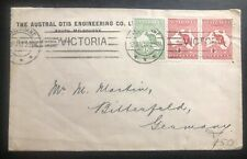 1913 Melbourne Australia Austral Otis Engineering cover To Bittenfeld Germany