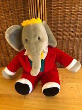 "Gund Babar Elephant Plush Red Suit 14"" Vintage Soft Toy Stuffed Animal 1988"
