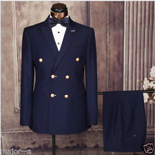 Navy 3 Pieces Double Breasted Groom Tuxedos Groomsmen Blazer Wedding Prom Suits+