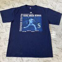Majestic MLB Seattle Mariners Felix Hernandez Cy Young Baseball Shirt Mens Large