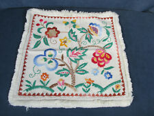 Pillow Case Decorative White Cotton Embroidered Flowers Bright Colors Fringe