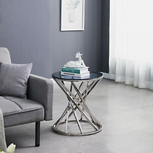 Round Coffee Table Sofa Side Table With Smoked Glass Top Living Room Furniture