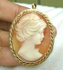 Cameo pendant pin 13.6 grams Gorgeous! Vintage 18k solid gold signed Fje Italy