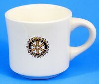 Rotary International Cup Mug White Logo Vintage Ceramic Made in USA EUC