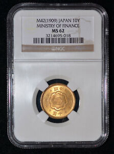 NGC MS62 1909 Japan 10 Yen Gold Coin - From the Ministry of Finance