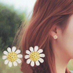 Womens Girls 925 Sterling Silver Sun Flower Stud Earrings Jewellery Gift UK