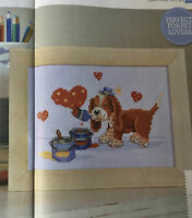 CROSS STITCH CHART Puppy Love Picture Dog Painting Design PATTERN ONLY