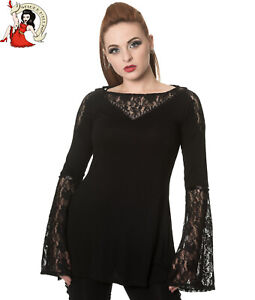 Banned Apparel Black Angel Flare Sleeve Bow Top XL