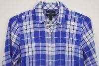 J Crew sz 0 Prefect Shirt Plaid Cotton Long Sleeve Button Up Blue White Womens