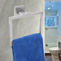Steel Chrome Hand Towel Rail Holder Wall Mounted Bathroom Square Rack Ring Shelf