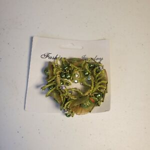 Vintage Scunzi Jeweled Hair Scrunchie Ponytail Holder Green Embellished