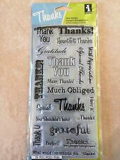 Inkadinkado Clear Acrylic Stamps Thank You Words Card Sentiments 60-30069 NEW