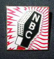 NBC Pin Vintage Metal Big Mic Red Sound Bolts Square