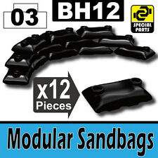 BH12-4 (W232) Army Modular Sandbags compatible with toy brick minifigures black