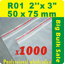 "1000 x R01 50X75mm(2""X3"") Resealable/ Zip Lock ZipLock Plastic Seal Bags"
