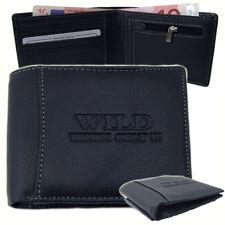 Herren Geldbörse Portmonee Portemonnaie Klappbörse Leder Bag Street Schwarz 5152