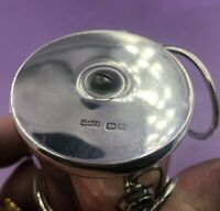 Unusual sterling silver retractable leather barbers strap Chester 1909