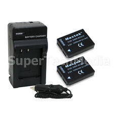2 Battery+Charger For Panasonic DMW-BCG10 DMW-BCG10PP DMC-ZR1 DMC-ZR3 DMC-ZS19