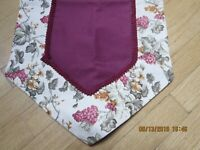"PRETTY TABLE RUNNER--SOLID CENTER-FLORAL BORDER--54"" X 13 1/2""--#B12"