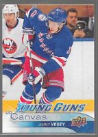 16/17 Upper Deck Canvas Young Guns Rookie Jimmy Vesey C105 Rangers