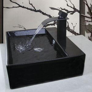 Bathroom Vessel Sink Deck Mounted Ceramic Rectangular Bowl Waterfall Faucet Sets