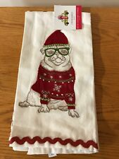CYNTHIA ROWLEY Holiday DOG KITCHEN TEA Dish TOWELS   PUG 2PC