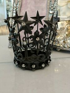Brown Vtg style Metal Crown Candle Holder tiara jeweled rhinestone