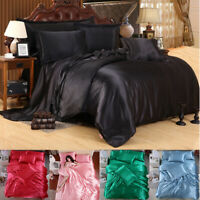 4 PCS Silk Blend Bedding Sets Sheets Duvet Cover Pillowcase Sheet Twin King Size